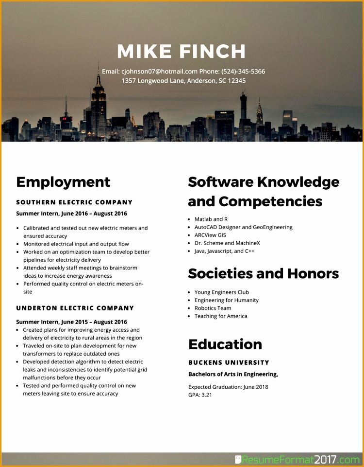 6 comprehensive resume sample