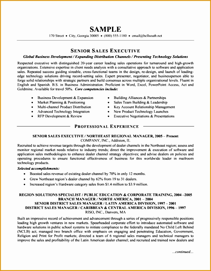 senior sales executive resume931727