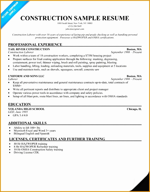5 construction laborer resume example