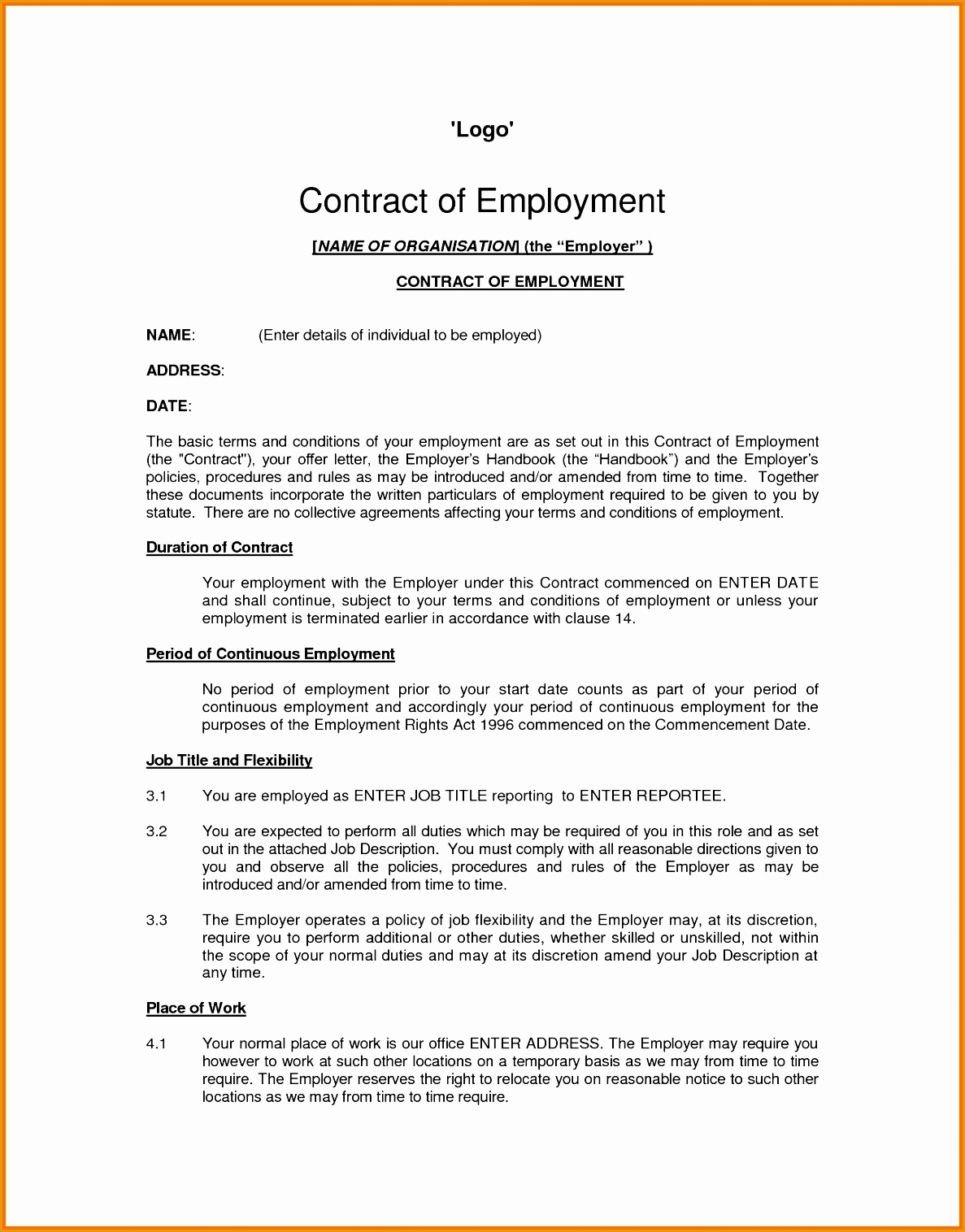 8 job contract template15161187