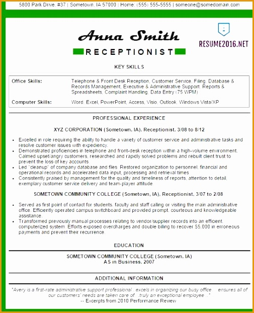 receptionist resume examples 2016622505