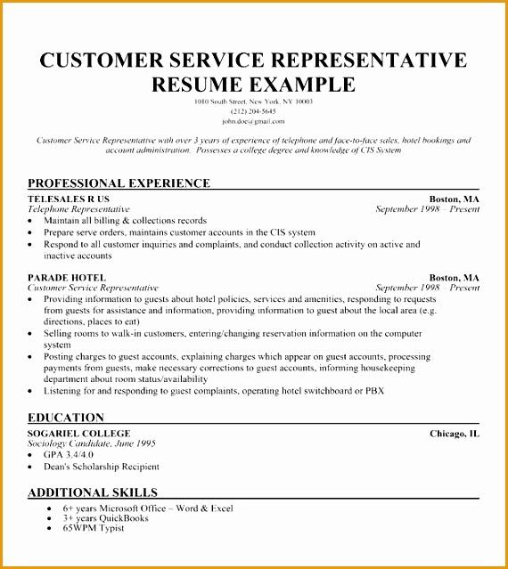 customer service representative resume639570