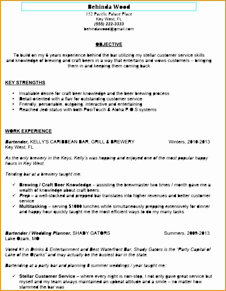 sample bartender resume931723