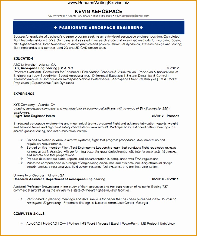 aerospace engineer resume sample817682