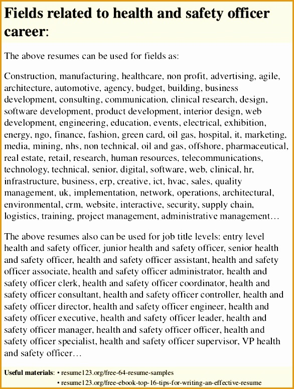 top 8 health and safety officer resume samples774586