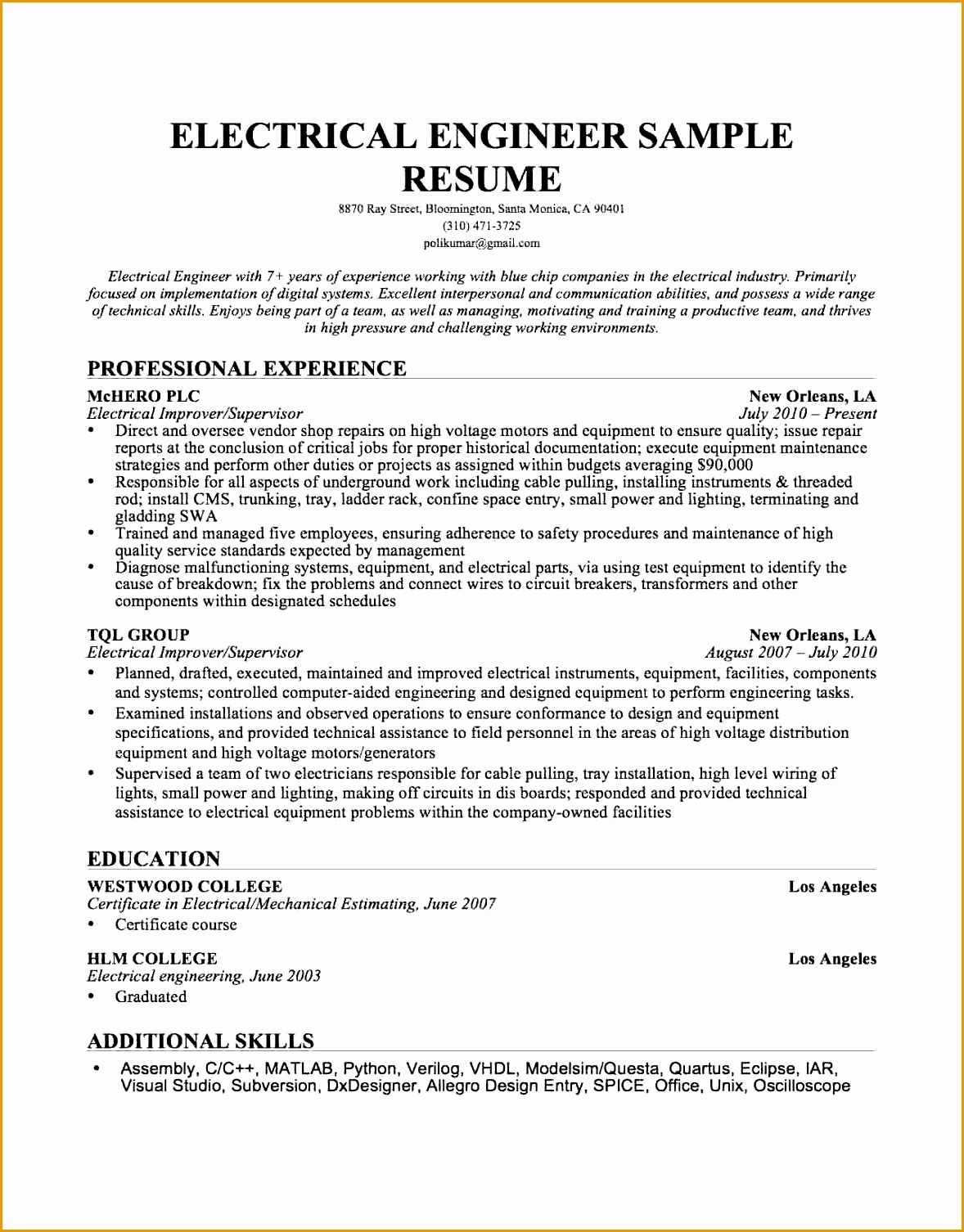 10 graduate electrical engineering resume15061178