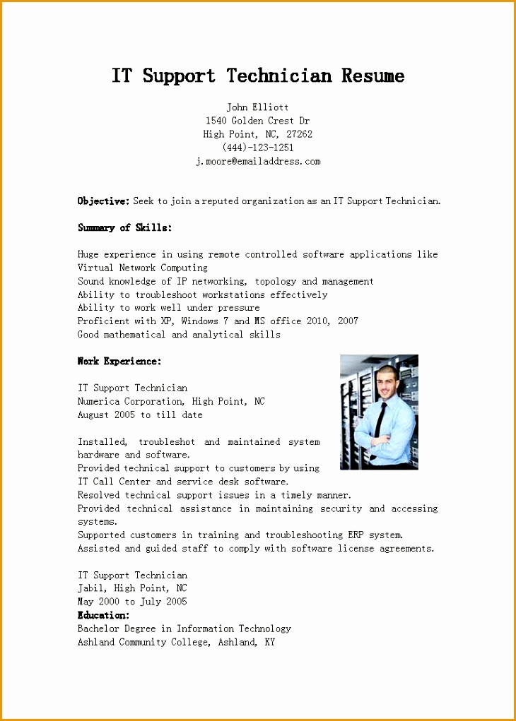 it support technician resume sample1021730