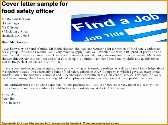 food safety officer cover letter435586