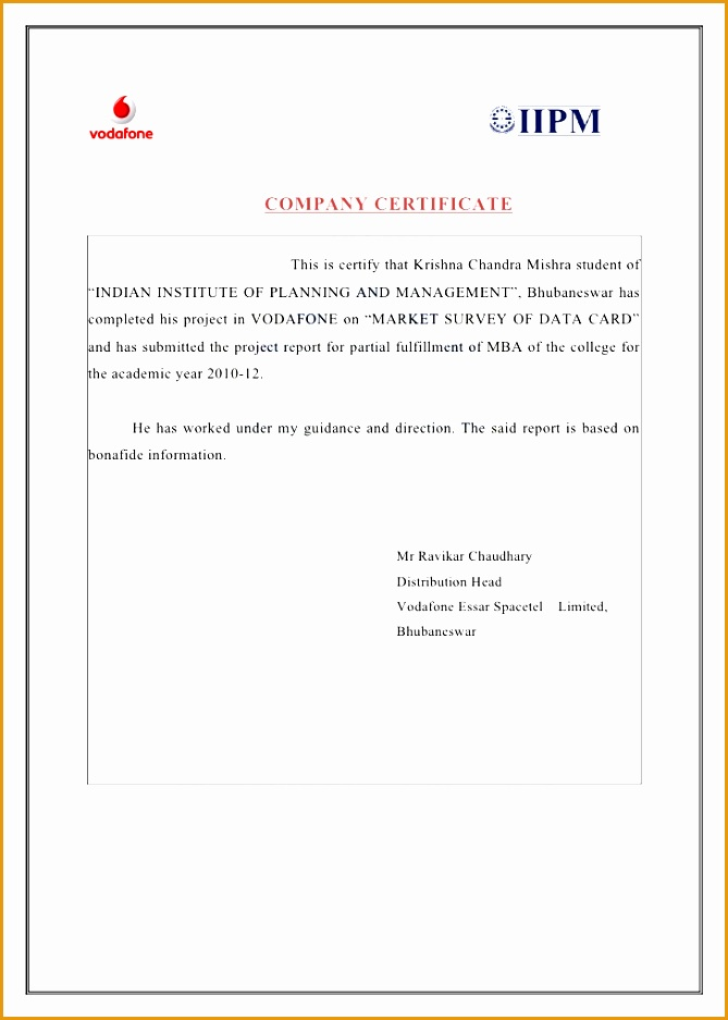 Company certificate format for mba project report gallery certificate template for project images certificate design and noc letter format to vodafone images download guide yadclub Image collections