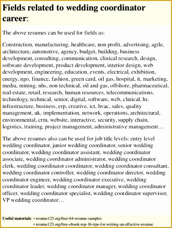 top 8 wedding coordinator resume samples774586