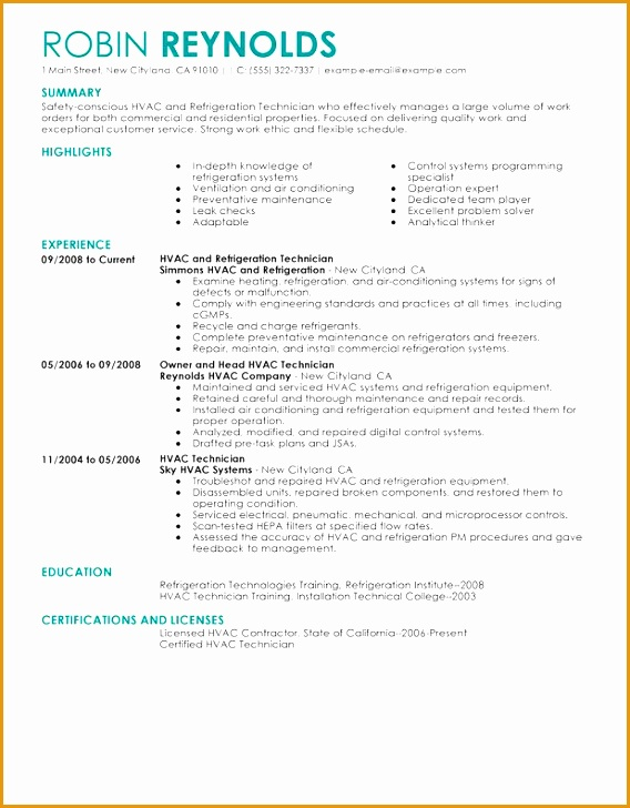 hvac and refrigeration resume sample728568