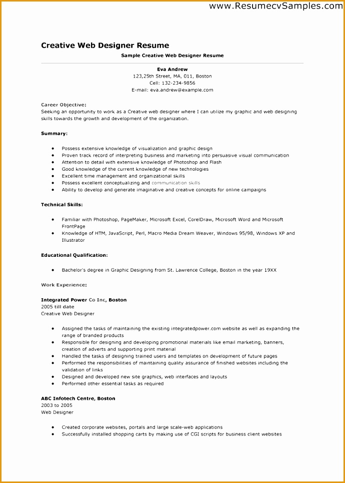 web designer resume sample965690