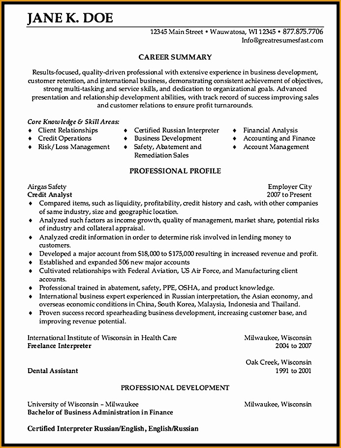 credit analyst resume sample910693