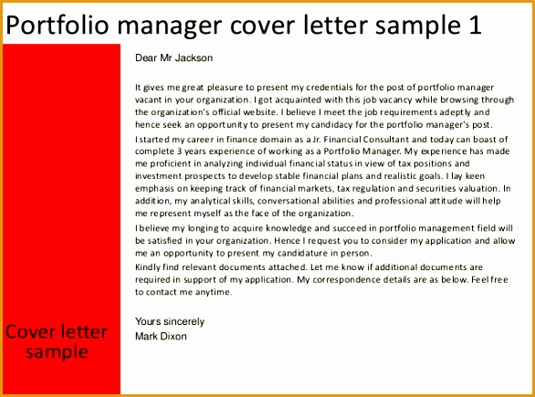 portfolio manager cover letter435586