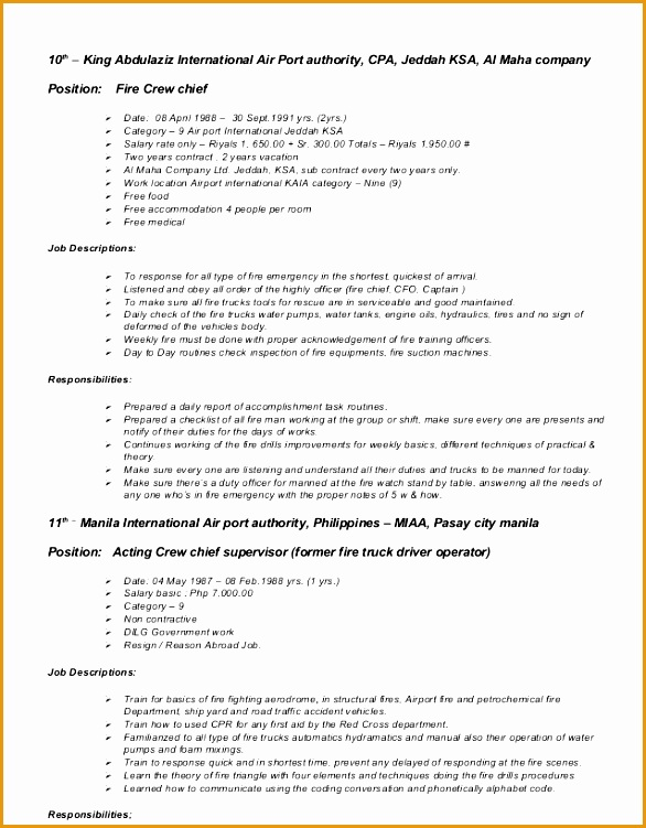 9 fire captain resume example