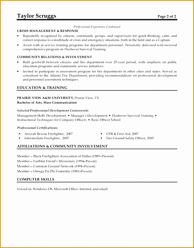 9 Fire Captain Resume Example Free Samples Examples