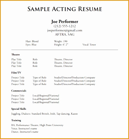 acting resumes examples resume template theatre resume sample573533