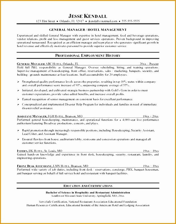 hotel management resume templates754590