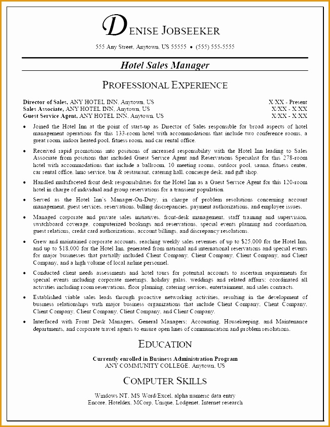 hotel management resume templates844653