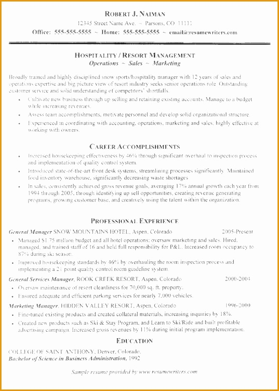 hospitality resume example778555