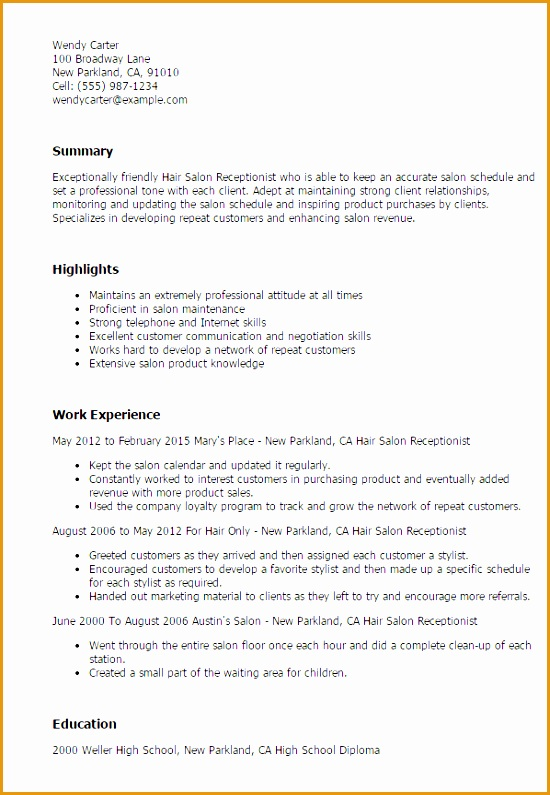 7 hair stylist assistant resume sample