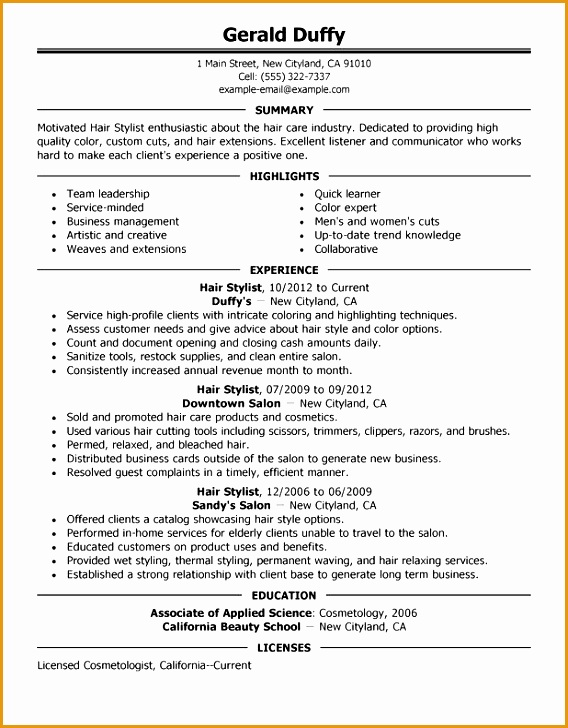 hair stylist assistant resume sample