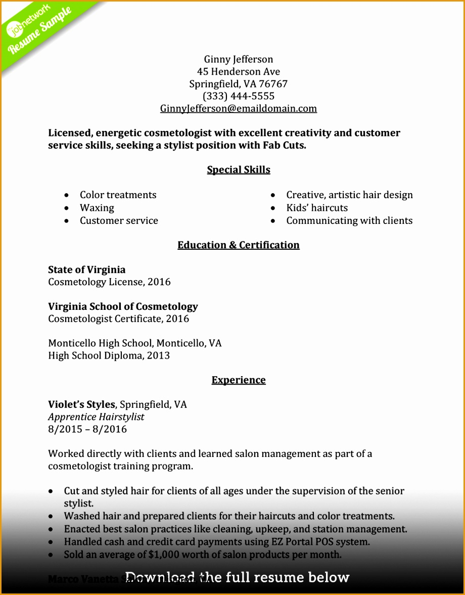 how to write a perfect cosmetologist resume1177920