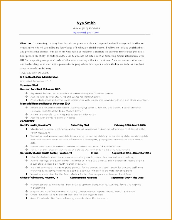 nya smith health care administration resume 2016751586