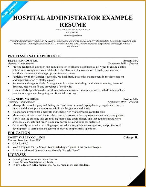 6 Health Care Administration Resume Free Samples