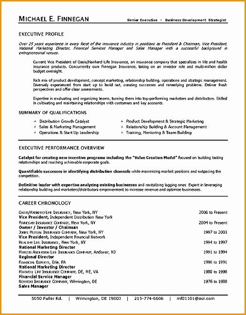 life insurance executive resume example647506