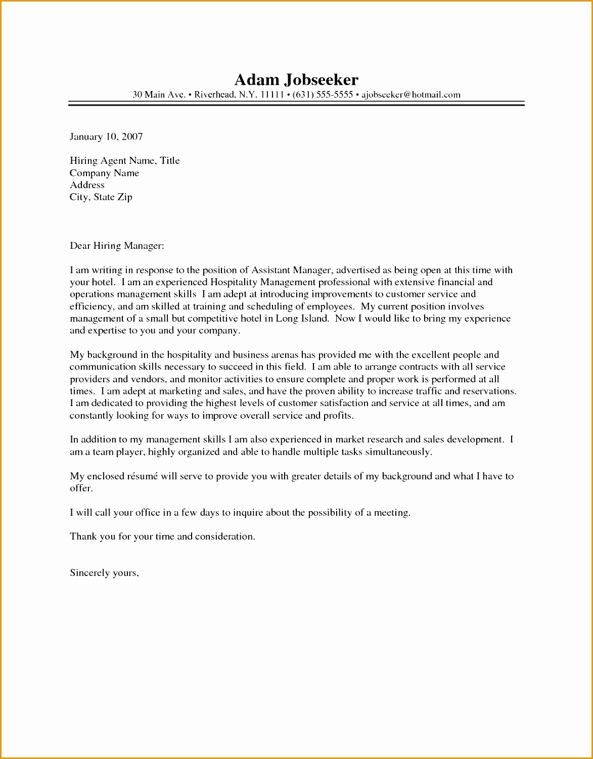 hotel cover letter examples15011173