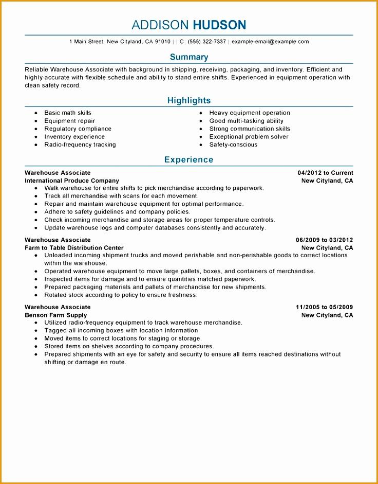sample resume warehouse skills list941736