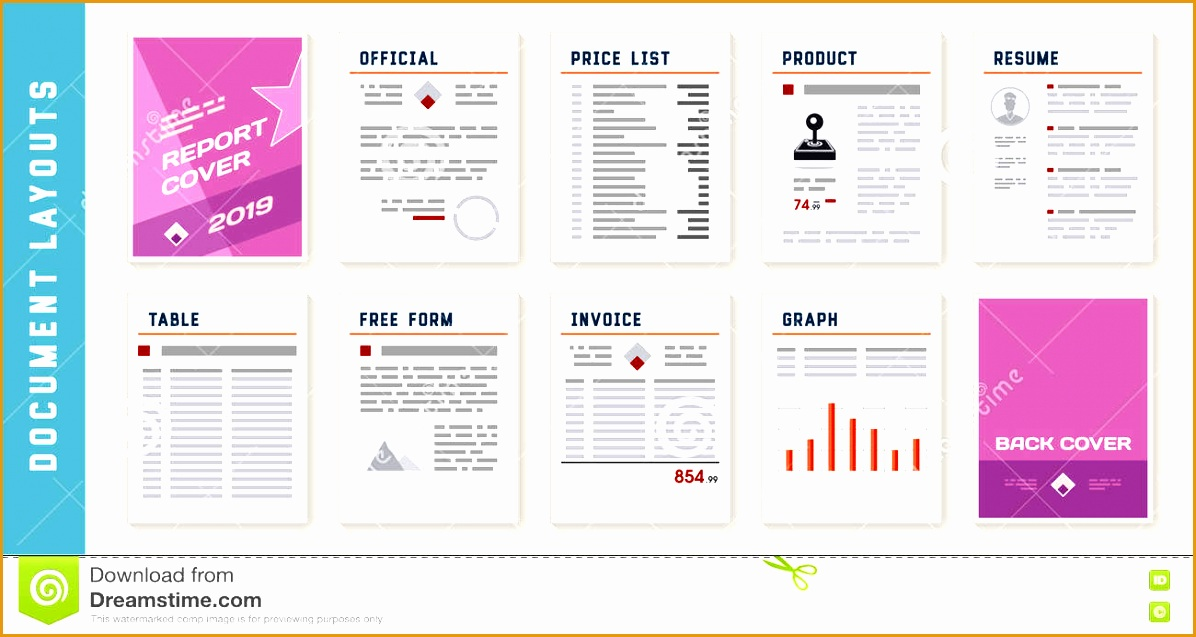 stock illustration document report layout templates set vector image6371196