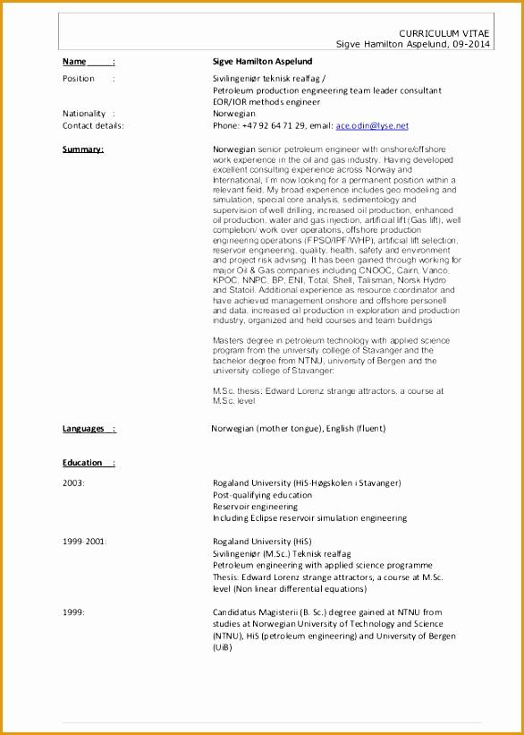 cv sigve hamilton aspelund short version petroleum production engineer821586