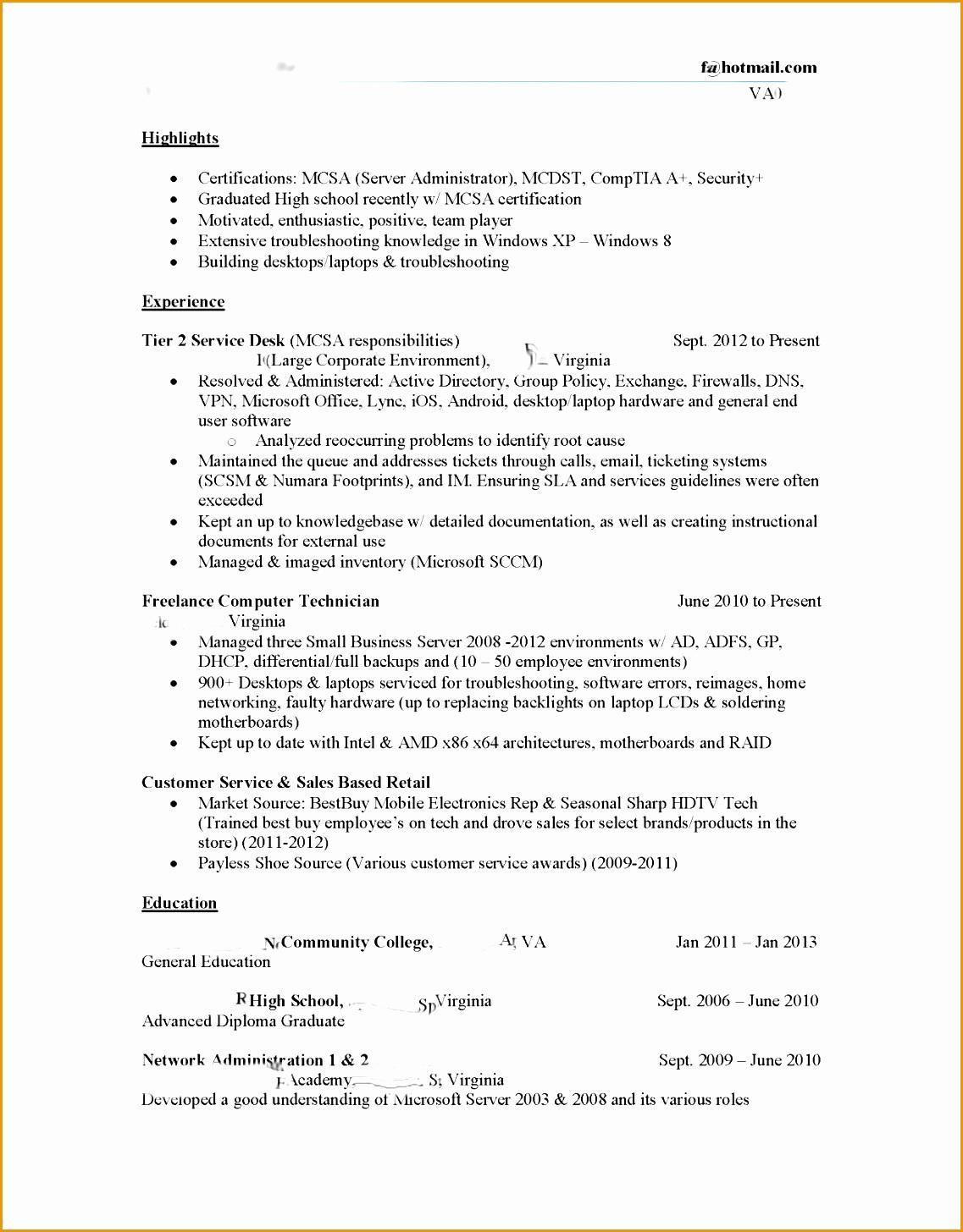Entry It Help Desk Resume