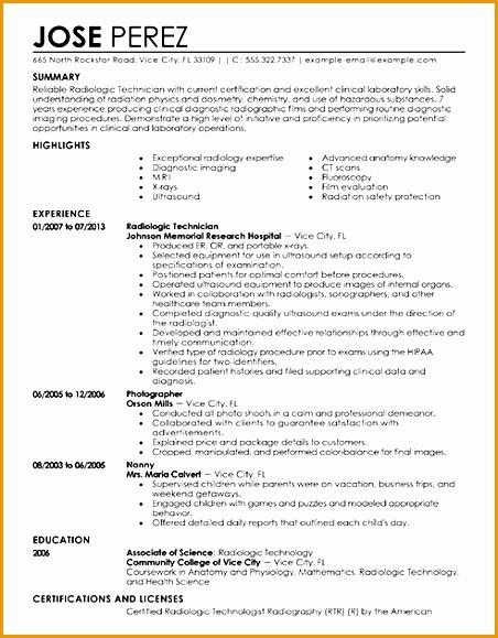 sample radiologic technologist resume579452