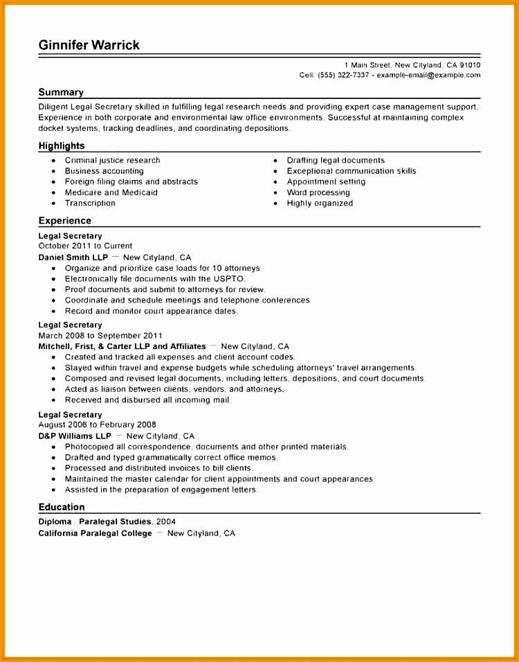 8 legal secretary resume956750