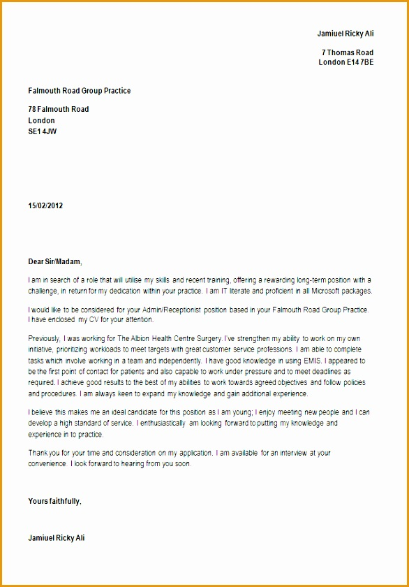 receptionist cover letter 4 receptionist cover letter free samples 1557