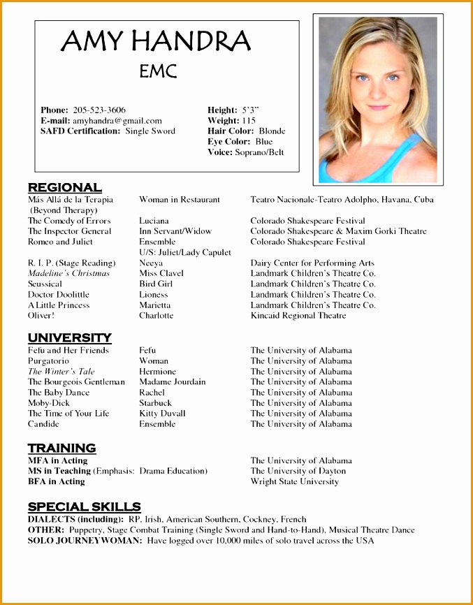 7 musical theatre resume examples