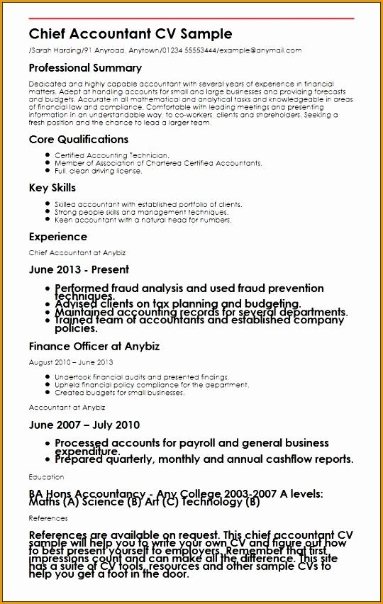 chief accountant cv sample852540