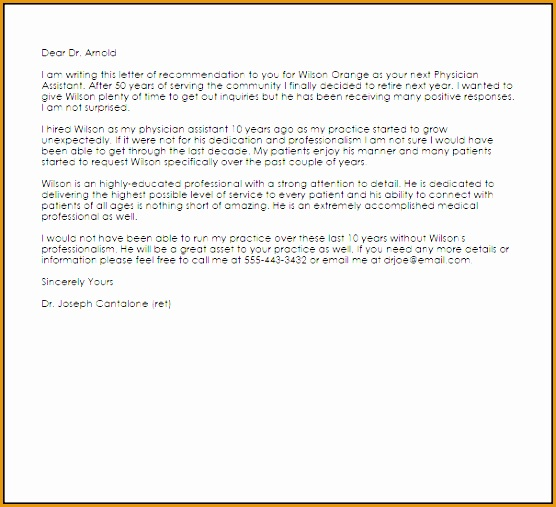 physician assistant re mendation letter507556