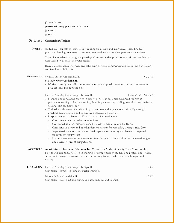 cosmetology student resume examples864675