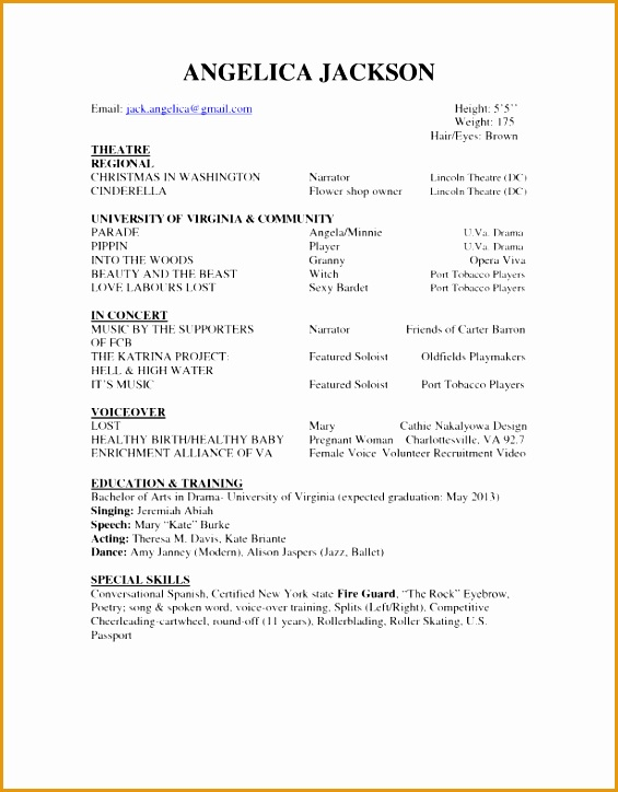 9 professional acting resume