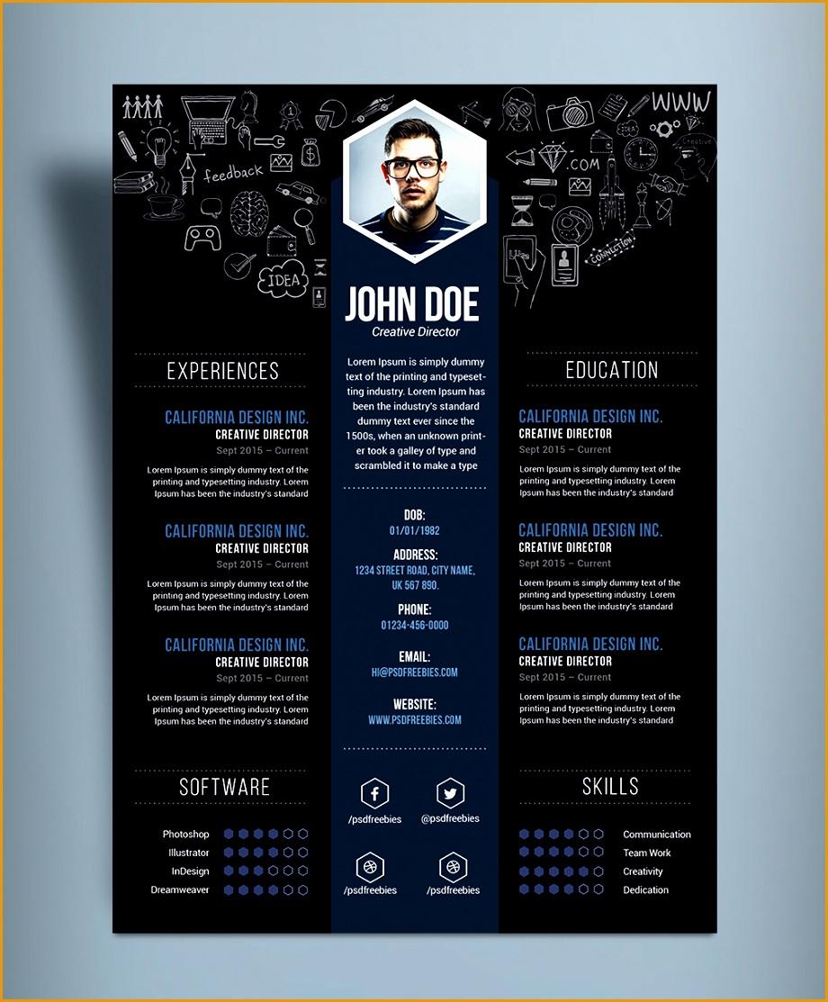 free creative resume cv designtemplate psd file1113920