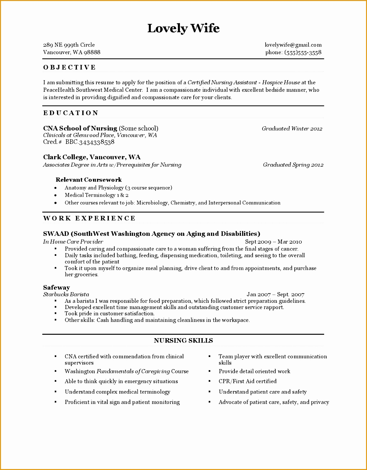 resume for cna with experience nursing assistant job description in a hospital15011173