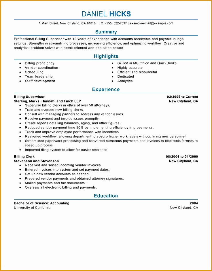 professional billing supervisor resume template example free s941736