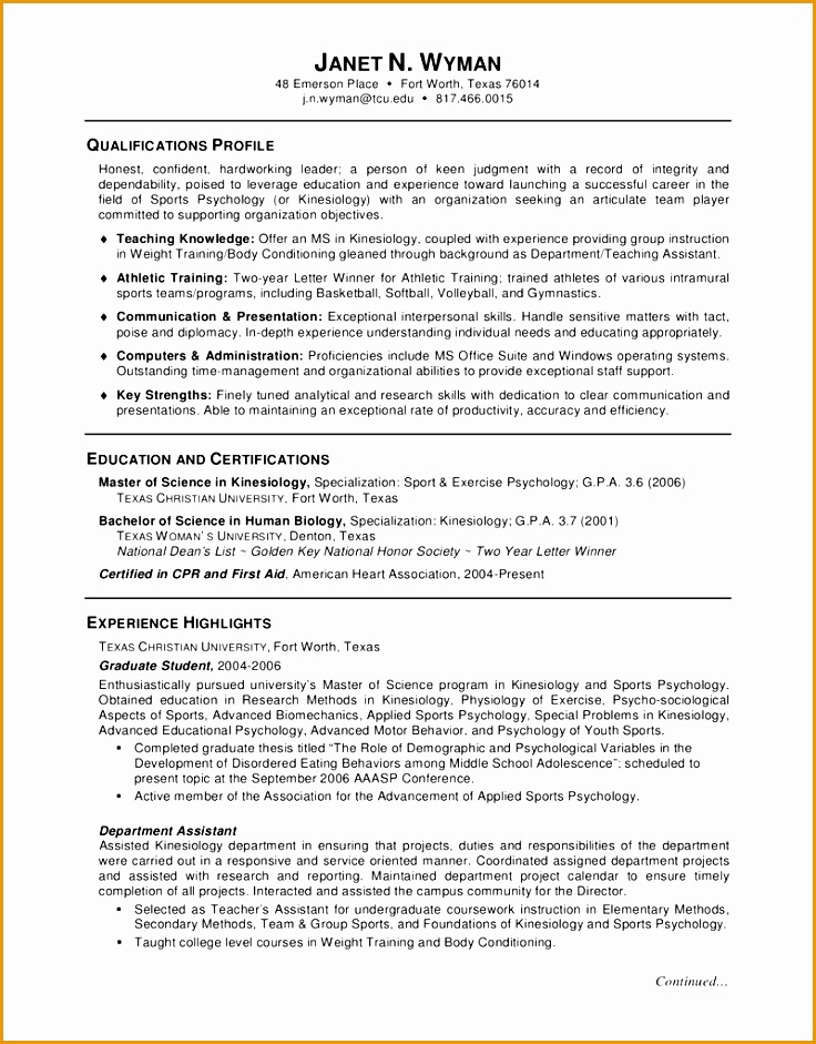 resume example for seeking job with education in master of science in kinesiology941736