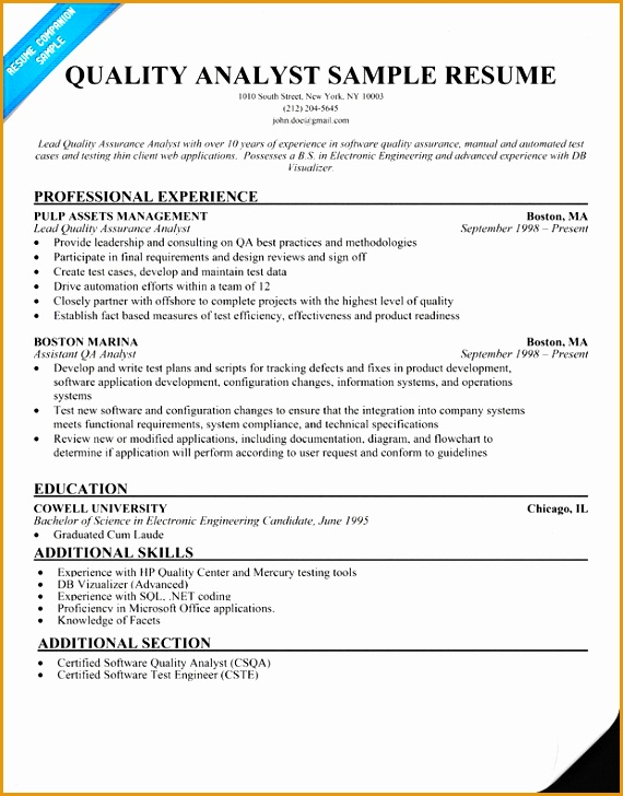 5 quality assurance resume sample