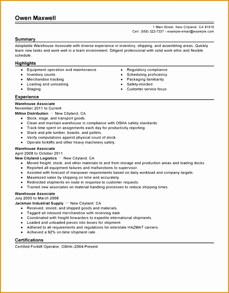 7 resume builder no work experience free samples for Cover letter for warehouse job with no experience