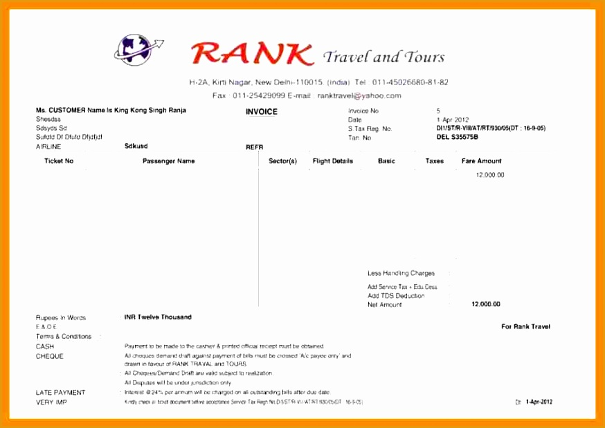 9 tours and travels bill format in excel619874
